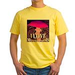 I Love Mushrooms Spherized Yellow T-Shirt
