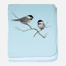 chickadee song bird baby blanket