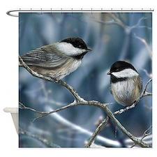 chickadee song bird Shower Curtain