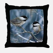 chickadee song bird Throw Pillow