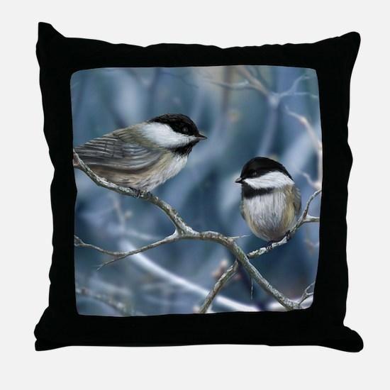 chickadee song bird Throw Pillow