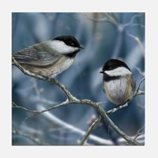 chickadee song bird Tile Coaster