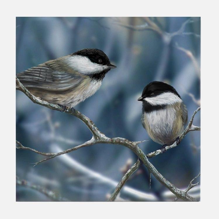 chickadee song bird Tile Coaster