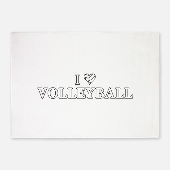 I Love Volleyball 5'x7'Area Rug