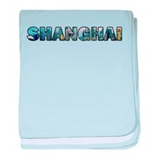 Shanghai China Skyline baby blanket