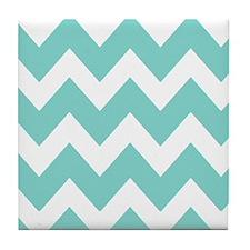 Oasis green chevrons Tile Coaster