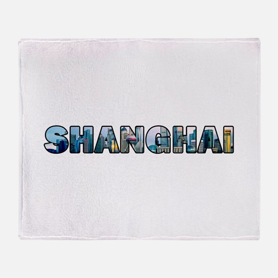 Shanghai China Skyline Throw Blanket