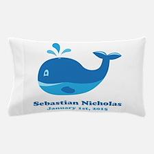 Whale CUSTOM Baby Name Birthdate Pillow Case