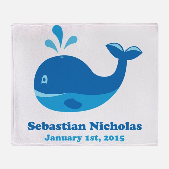 Whale CUSTOM Baby Name Birthdate Throw Blanket