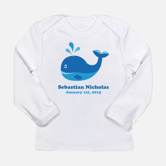 Whale CUSTOM Baby Name Birthdate Long Sleeve T-Shi