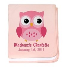 Pink Owl CUSTOM Baby Name Birthdate baby blanket