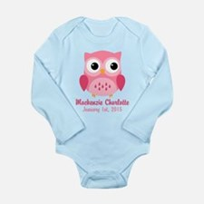 Pink Owl CUSTOM Baby Name Birthdate Body Suit