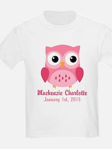 Pink Owl CUSTOM Baby Name Birthdate T-Shirt
