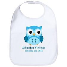 Blue Owl CUSTOM Baby Name Birthdate Bib