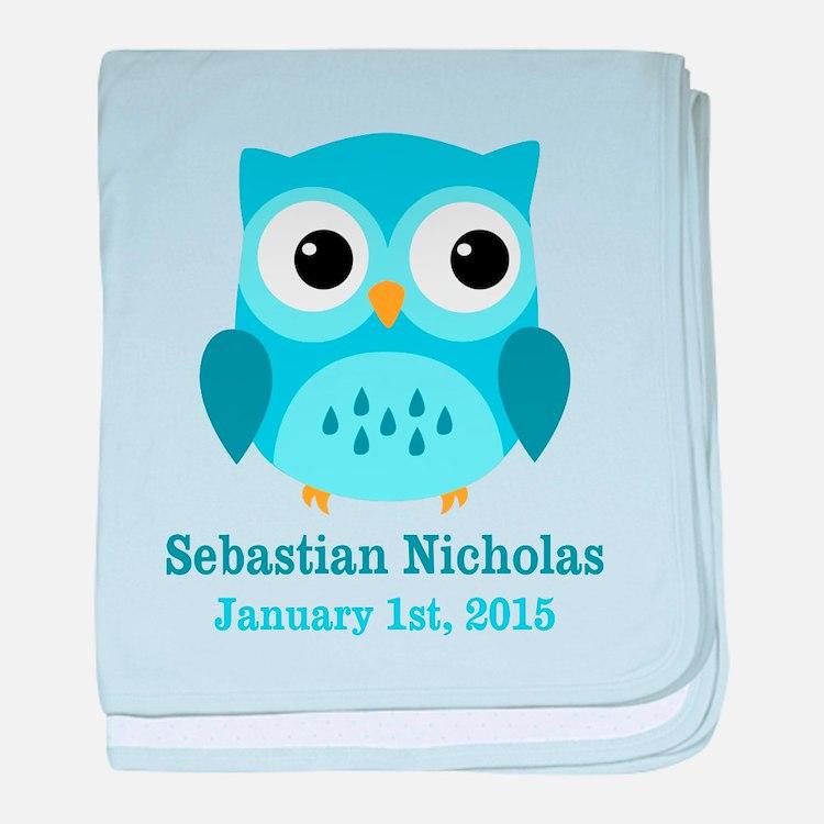 Blue Owl CUSTOM Baby Name Birthdate baby blanket