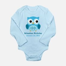 Blue Owl CUSTOM Baby Name Birthdate Body Suit