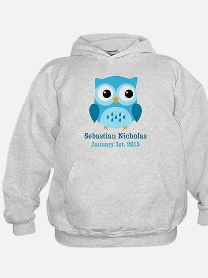 Blue Owl CUSTOM Baby Name Birthdate Hoodie