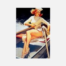 pinup on the boat Rectangle Magnet
