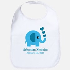 Blue Elephant CUSTOM baby name birthdate Bib