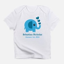 Blue Elephant CUSTOM baby name birthdate Infant T-