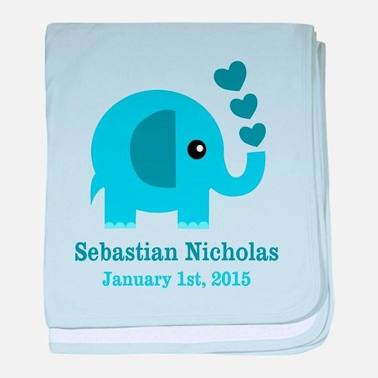Blue Elephant CUSTOM baby name birthdate baby blan