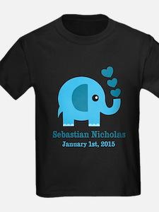 Blue Elephant CUSTOM baby name birthdate T-Shirt