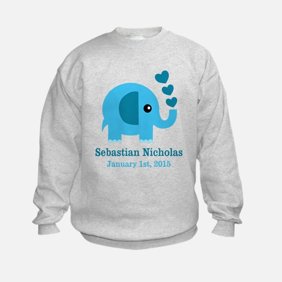Blue Elephant CUSTOM baby name birthdate Sweatshir