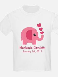 Pink Elephant CUSTOM Baby name birthdate T-Shirt