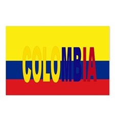COLOMBIA FLAG WITH NAME Postcards (Package of 8)