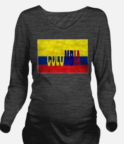 COLOMBIA FLAG WITH NAME Long Sleeve Maternity T-Sh