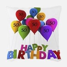 Happy Birthday-50 Woven Throw Pillow