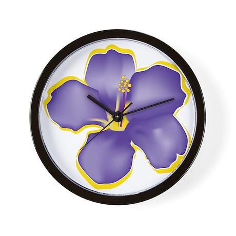 Purple Tropical Flowers Wall Clock