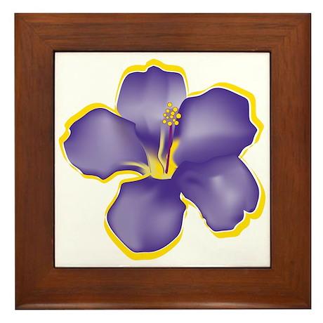 Purple Tropical Flowers Framed Tile