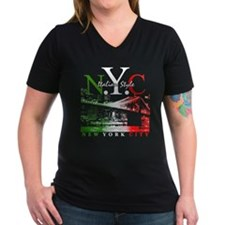 Italian Style NY Skyline Women's V-Neck Blk Tee