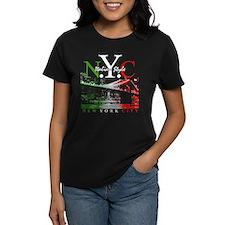 NYC Italian Style NY Skyline Women's Black Tee