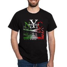NYC Italian Style NY Skyline Black T-Shirt
