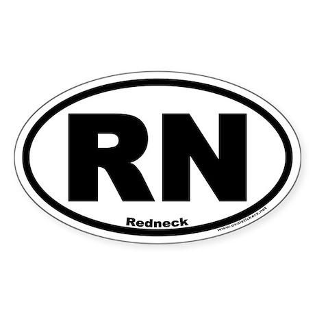 "Redneck Oval Sticker ""RN"""