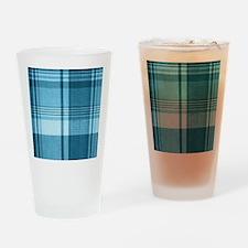 Blue Plaid Drinking Glass
