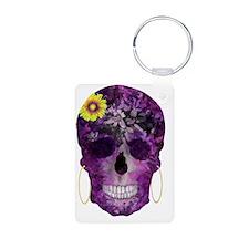 Purple Flower Skull Keychains