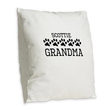Scottie Grandma Burlap Throw Pillow