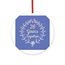 26th Anniversary wreath Ornament (Round)