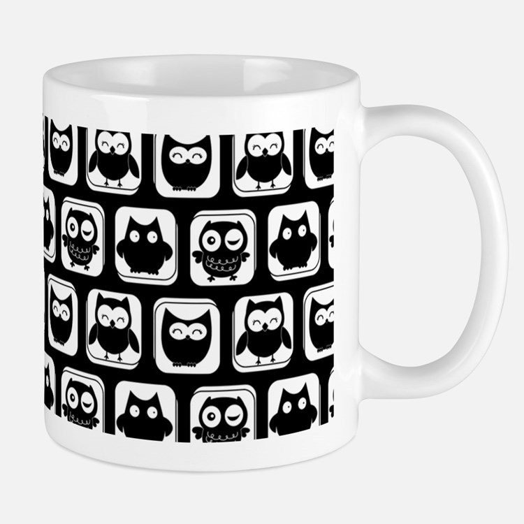Black and White Owl Illustration Patter Mug