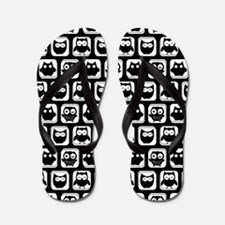 Black and White Owl Illustration Patter Flip Flops