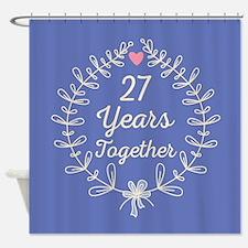 27th Anniversary wreath Shower Curtain
