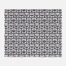 Dim Gray and White Owl Pattern Throw Blanket