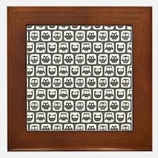 Dim Gray and White Owl Pattern Framed Tile