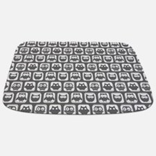 Dim Gray and White Owl Pattern Bathmat