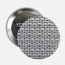 """Dim Gray and White Owl Patt 2.25"""" Button (10 pack)"""