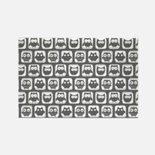 Dim Gray and White Owl Pattern Rectangle Magnet