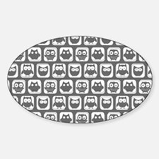 Dim Gray and White Owl Pattern Decal